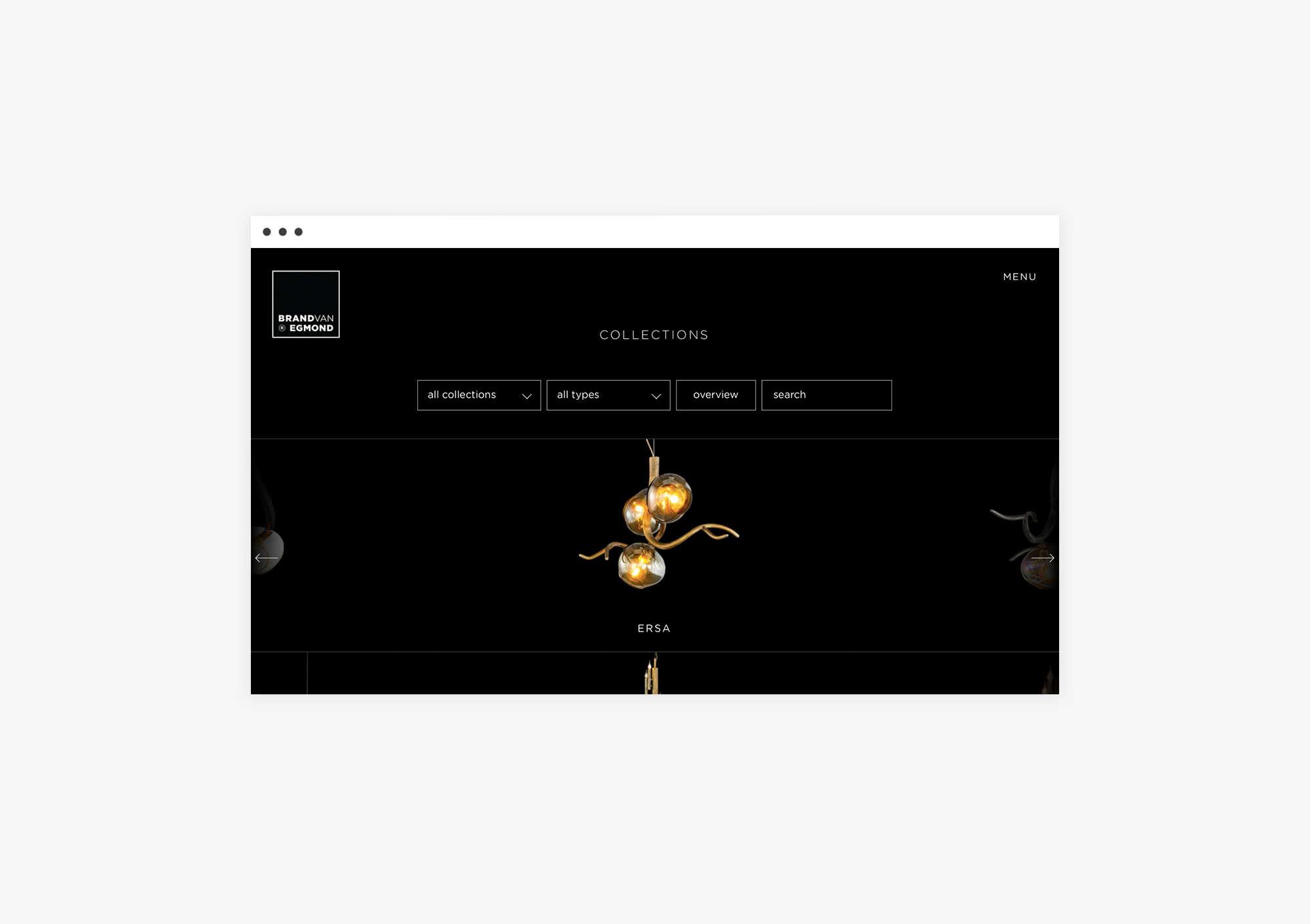 Catalogue design website for Brand van Egmond