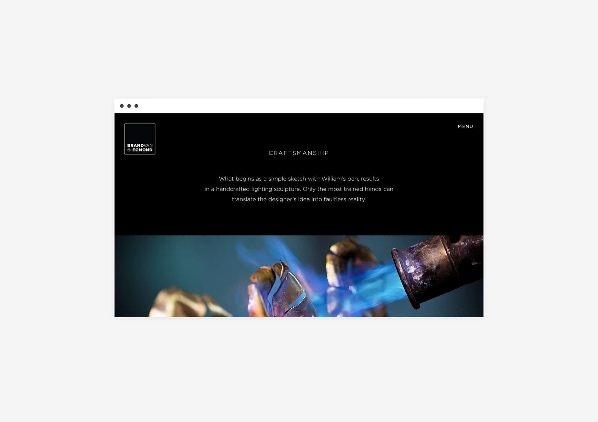 Custom made design website for Brand van Egmond