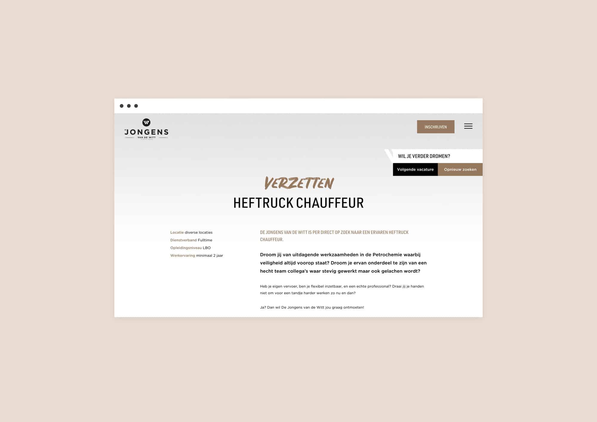 Jobs page design website for Jongens van de Witt