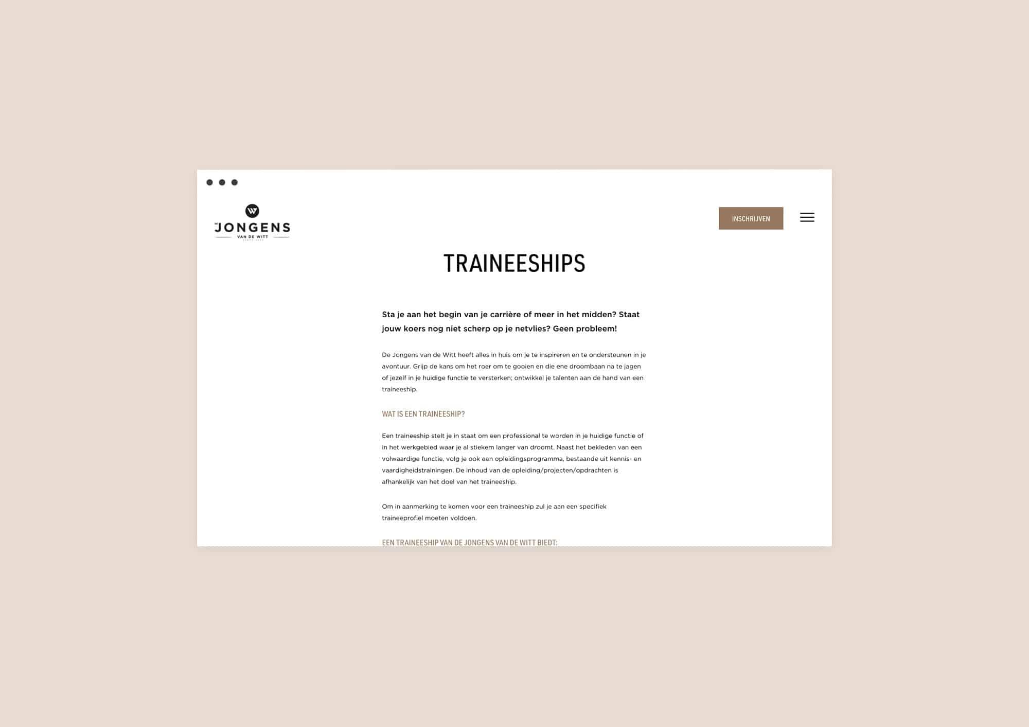 Design website for Jongens van de Witt