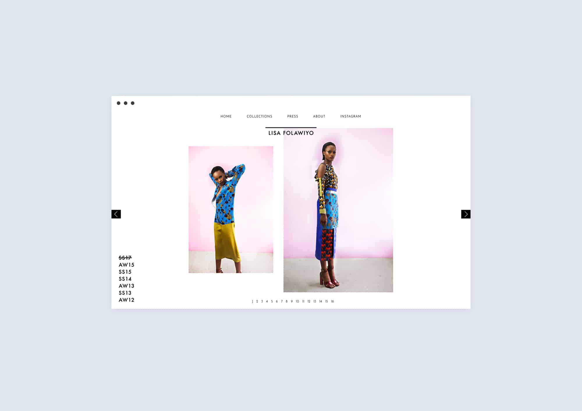 Collections page design website for Lisa Folawiyo