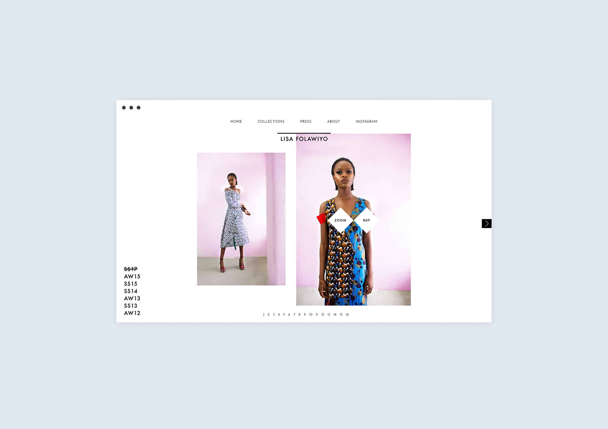 Product page design website for Lisa Folawiyo