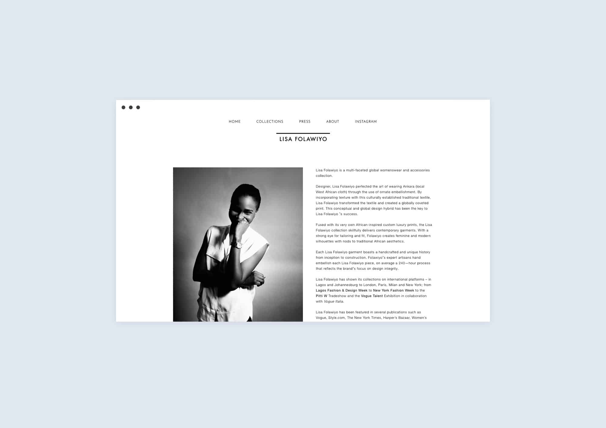 About page design website for Lisa Folawiyo