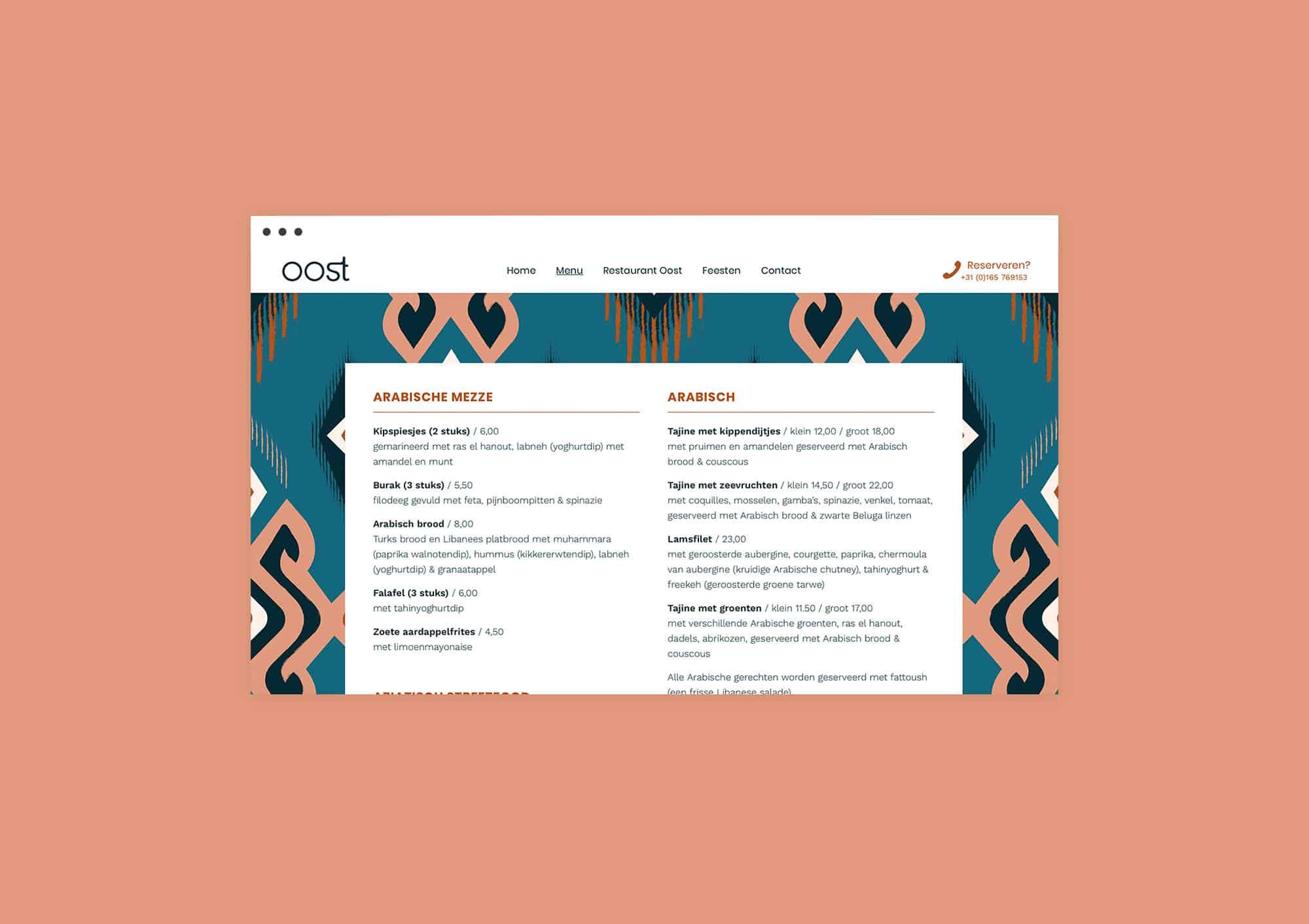 Online menu page design website for Restaurant Oost