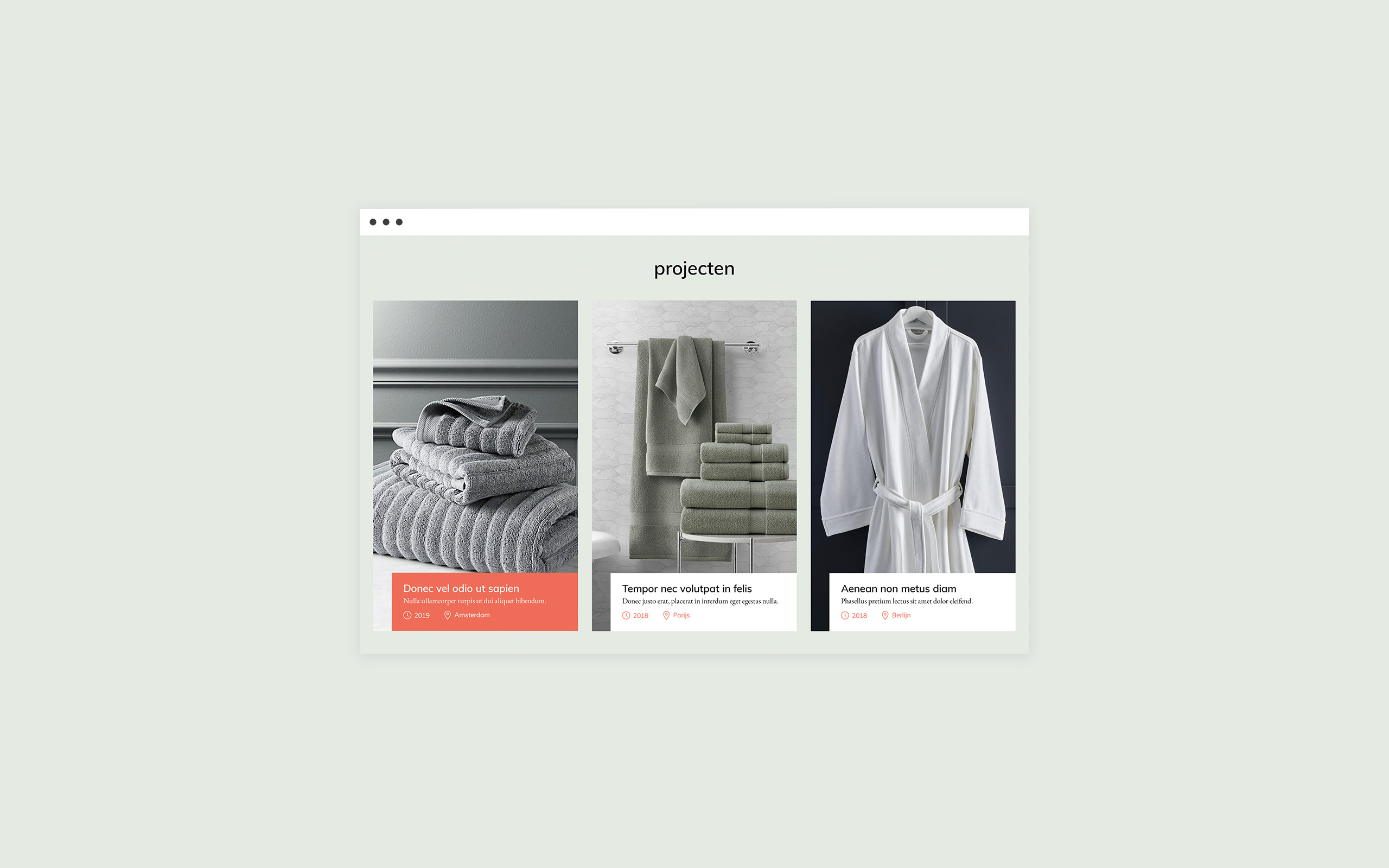 Projects Page design website Enova Textiles
