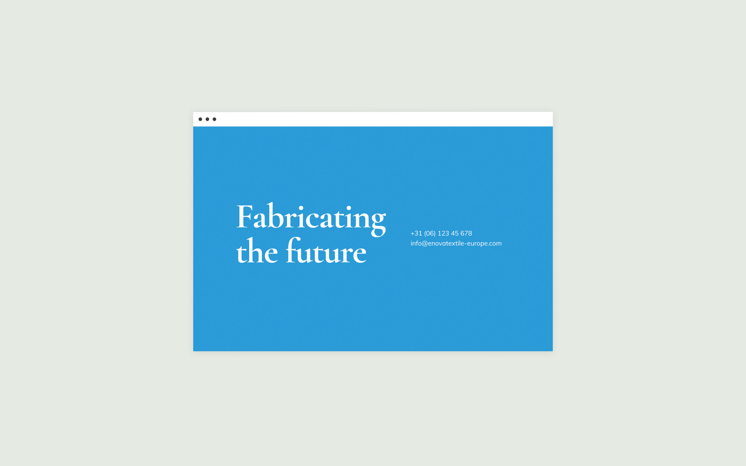 Contact page design website Enova Textiles